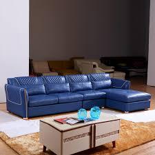canapé cuir angle canapé d angle bleu en cuir pu salon meubles maison le meilleur