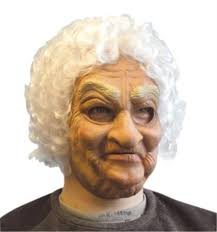 old lady mask with hair for elderly oap fancy dress accessory