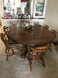 round table santee ca vintage solid wood dining table six chairs and two leafs have