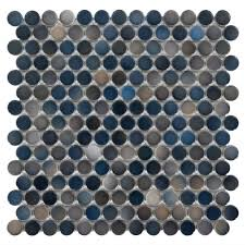 Floor And More Decor Dark Blue Multi Penny Porcelain Mosaic 10in X 12in 100053289