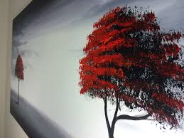 framed modern red tree oil painting canvas large abstract wall art