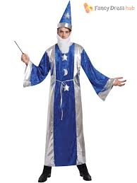 mens magician robe hat wizard costume adults magic merlin