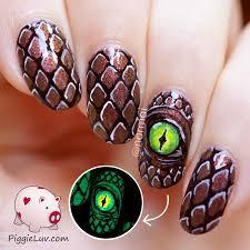 piggieluv glowmeleon dragon eye nail art