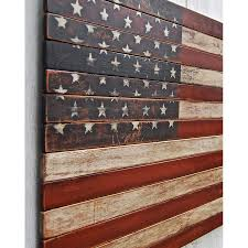 distressed american flag on planked wood