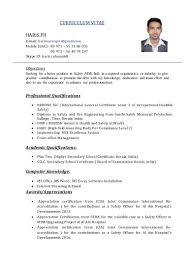 objective in a resume for fresher haris safety officer cv
