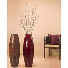 Large Brown Floor Vase Bamboo 36 Inch Cylinder Vase With Birch Branches Overstock Com