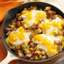 baked cheddar eggs u0026 potatoes recipe taste of home