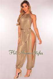 miami styles sand gold metallic slit leg harem jumpsuit