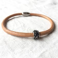 steel leather bracelet images Men 39 s leather bracelet with decorative stainless steel bead and jpg