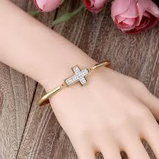stainless steel crystal bangle bracelet images Stainless steel crystal rhinestones cross bracelets jpg