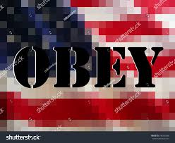 American Flag Words Ominous Words Obey Black Block Over Stock Photo 146382488