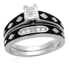 black wedding sets eternal treasures 1 7ct sterling silver women s black enamel