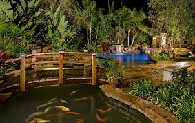 outdoors oriental garden with natural pond also wood arched