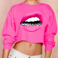 pink clothing 2017 autumn pink lip big print sleeve