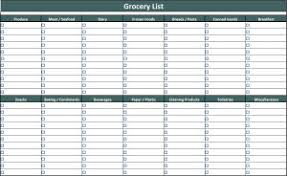printable household shopping list grocery list template
