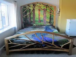 Tree Bed Frame Large Tree Branch Bed Frame With Artistic Forest Headboard