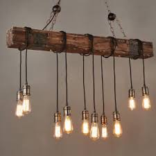 Wood Beam Light Fixture Farmhouse Style Pendant Light Wood Beam Large Linear Hanging L