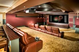 amazing home theater basement remodeling with brown leather arm