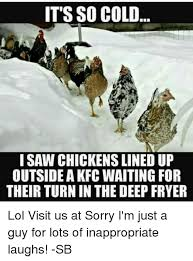Cold Meme - it s so cold i saw chickens lined up outside a kfc waiting for
