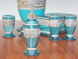 Blue Glass Bathroom Accessories Super Design Ideas Teal Bathroom Set Decor Etsy Sets Accessories