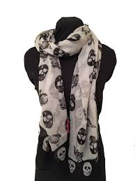 white with black skull and roses design scarf wrap with black