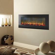 metropolitan 56 in wall mount electric fireplace in black with