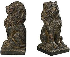 lion book ends sterling 87 8014 composite lion bookends aged copper