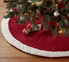 christmas tree skirts velvet tree skirt with ivory cuff pottery barn