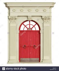 red front door classic arch with corinthian column and red front door 3d