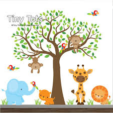 Vinyl Tree Wall Decals For Nursery by Amazon Com Jungle Wall Decals Animal Decals Elephant Lion