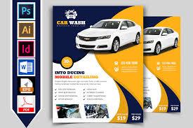 car wash flyer template vol 01 flyer templates creative market