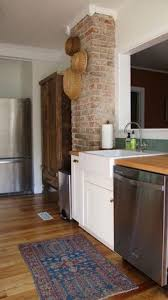 Kitchen Small Galley Kitchen Makeover With Brick by Front Entrance Leading To Kitchen Exposed Brick Chimney Kitchen