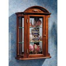 Wall Curio Cabinet Glass Doors Vintage Wooden Wall Curio Cabinet Glass Door Corner Shelf Display