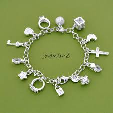 star bracelet charm images Silver charm bracelet cross ring star key moon lock ball jpg