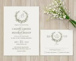 laurel wreath wedding invitation rustic wedding greenery