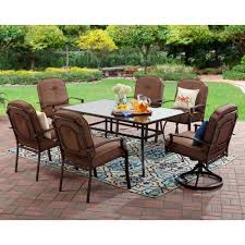 patio furniture 7 dining set mainstays wentworth 7 patio dining set seats 6 walmart