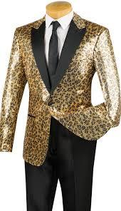 mens designer tuxedo dinner jacket gold leopard sequin bsq 2