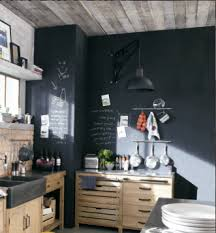 cuisine mur noir meubles de cuisine indépendant et ilot maison du monde kitchens