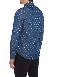 ben sherman umbrella print long sleeve button down shirt in blue