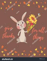 thanksgiving card rabbit holding flowers stock vector