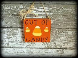 out of candy rustic wooden fall decor happy halloween sign