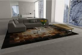 Leather Area Rug Gradient Patch Hide Rug In Beige Brown And Black Squares Shine Rugs