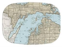 up michigan map m2698 up michigan map melamine plate platter