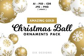 christmas ball ornaments pack gold illustrations creative market