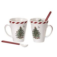 spode tree peppermint mugs with spoons set