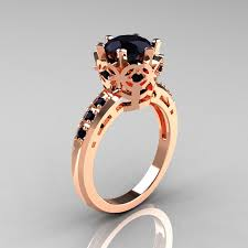 pink and black engagement rings modern classic 10k pink gold 1 5 carat black diamond crown