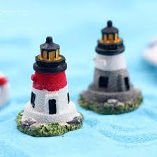 Lighthouse Garden Decor 2018 Artificial Lighthouse Buildings Fairy Garden Miniatures Toys
