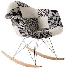 Accent Rocking Chairs Edith Rocking Chair Black And White Patchwork Contemporary