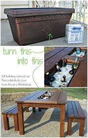 Build Wooden Patio Table by Remodelaholic Build A Patio Table With Built In Ice Boxes