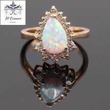 opal rings jewelry images White fire opal champagne gold color ring opal jewelry dtconner jpg